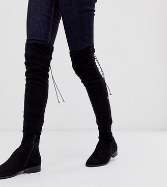 ASOS DESIGN Wide Fit Wide Leg Kayden flat thigh high boots in black