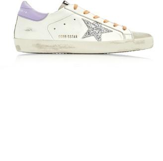 Golden Goose Superstar Glitter-Embellished Leather Sneakers