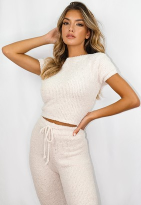Missguided Cream Co Ord Cosy Knit T Shirt