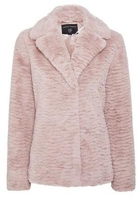 Dorothy Perkins Womens Pink Textured Short Faux Fur Coat, Pink