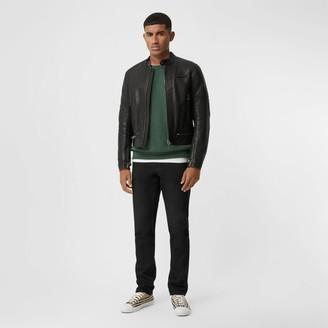 Burberry Logo Applique Leather Jacket