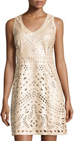 Laundry by Shelli Segal Laser-Cut Faux-Leather Dress, Champagne