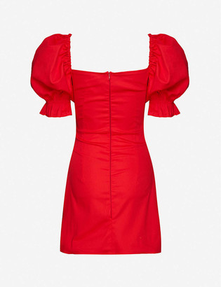Gabriella puffed-sleeve cotton mini dress