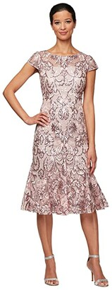 Alex Evenings Midi Embroidered Fit-and-Flare Dress (Blossom) Women's Dress