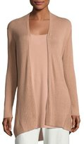 Eileen Fisher Ribbed Silk-Blend Cardigan, Toffee Cream, Plus Size