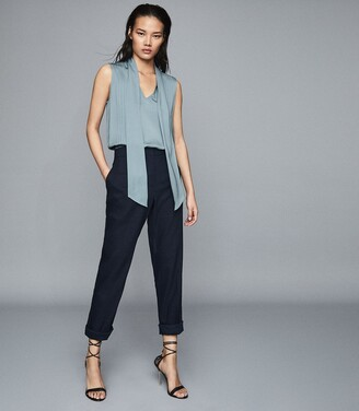 Reiss Trudie - Pintuck Detail Sleeveless Blouse in Blue