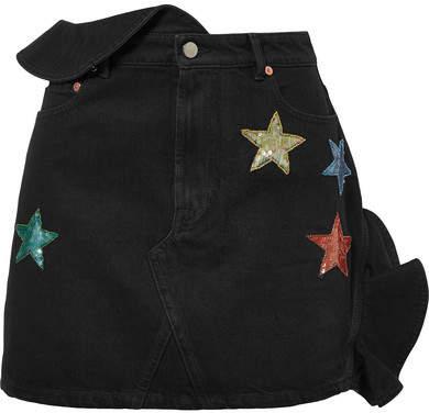 Valentino Embellished Ruffled Denim Mini Skirt - Dark denim