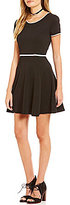 Jodi Kristopher Cap-Sleeve Textured Knit Fit-and-Flare Dress
