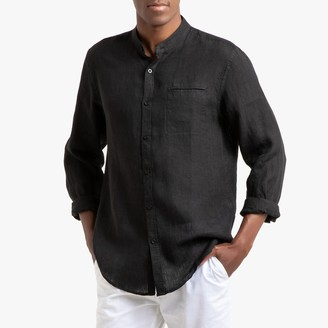 La Redoute Collections Regular Fit Linen Shirt with Mandarin Collar