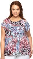 Dana Buchman Plus Size Printed Mesh Swing Top