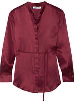 Elizabeth and James Wiley Silk-satin Shirt - Burgundy