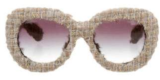 Chanel Tweed Oversize Sunglasses w/ Tags