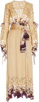 Etro Gold Spatial Floral Wrap Dress