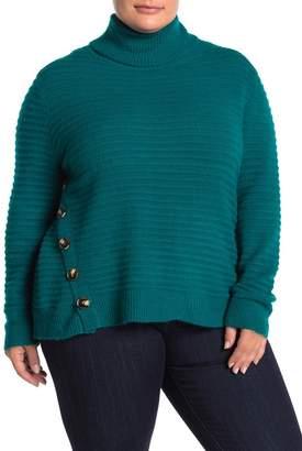 MelloDay Turtleneck Rib Knit Button Sweater (Plus Size)
