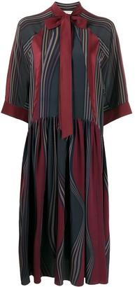 Ports 1961 Stripe-Print Silk Midi Dress