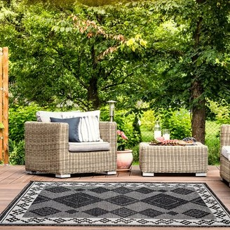 """Tubbs Millwood Pines Gray Indoor/Outdoor Area Rug Millwood Pines Rug Size: Rectangle 5'3"""" x 7'6"""""""