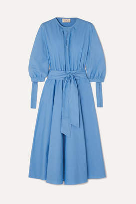 ARoss Girl x Soler Amanda Belted Cotton-poplin Midi Dress - Light blue