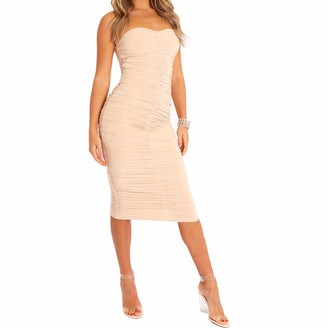 FunkyFashion New Ladies Womens Nude Bodycon Slinky Ruched Strapless Off Shoulder Party Midi Dress 10