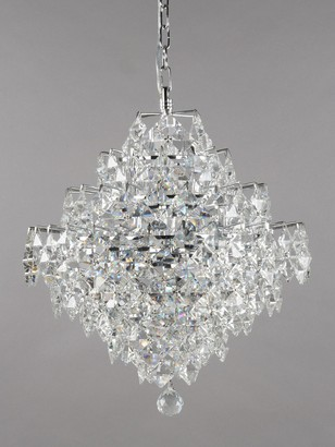 Impex Diamond Cube Crystal Chandelier Ceiling Light, Clear/Chrome