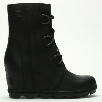 Sorel Joan Of Arctic II Black Leather Wedge Boots