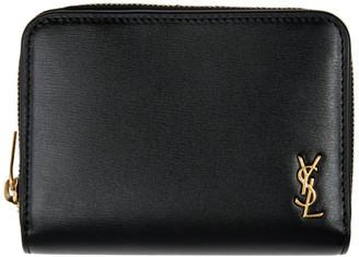Saint Laurent Black Tiny Monogram Compact Zip Wallet