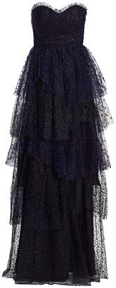 Marchesa Flocked Glitter Tulle Strapless Gown