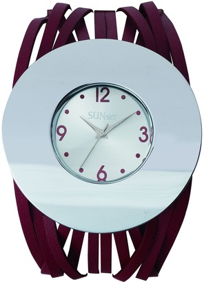 Sunset2583Ladies WatchSilver Dial Red Leather Strap