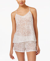 Linea Donatella Damask Burnout Cami And Shorts Pajama Set