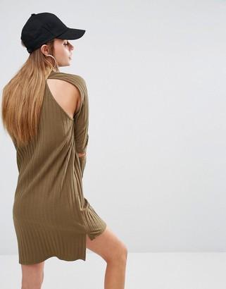 Asos First Base Rib Knit Cold Shoulder Dress-Green