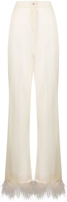 Alanui Sheer Feather-Trimmed Trousers