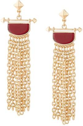 Jardin Pyramid Stud Semi Precious Red Turquoise Stone Inset Drop Earrings