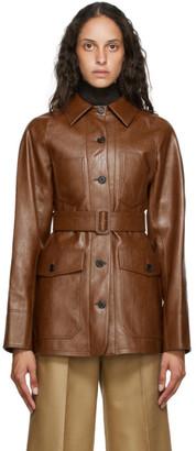 LVIR Brown Faux-Leather Belted Jacket