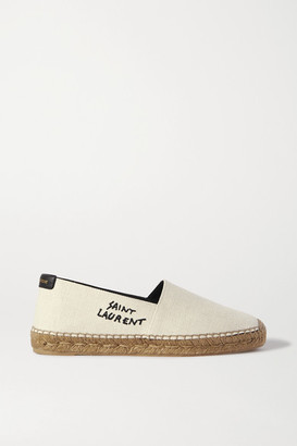 Saint Laurent Logo-embroidered Canvas Espadrilles - White