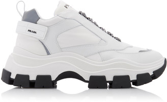 Prada Shell and Rubber-Trimmed Leather Sneakers