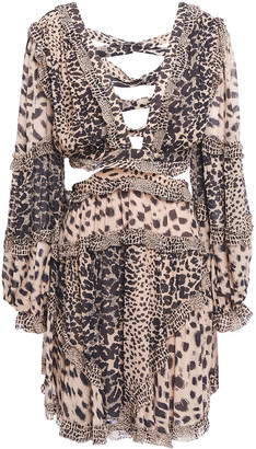 Zimmermann Allia Cutout Lace-up Leopard-print Georgette Mini Dress