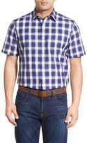 Nordstrom Regular Fit Short Sleeve Check Sport Shirt (Big)
