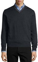 Neiman Marcus Tipped Superfine Cashmere V-Neck Sweater, Charcoal