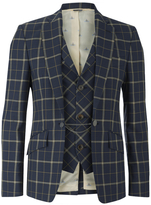 Vivienne Westwood Man Tea Wool Tartan Waiscoat Jacket Navy