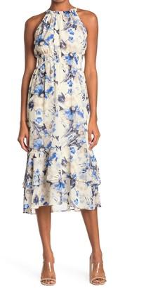 Lush Smocked Waist Floral Print Midi Dress