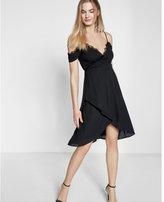 Express Lace Trim Cold Shoulder Wrap Dress