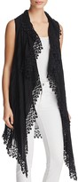 Johnny Was Lace Trim Drape Front Vest
