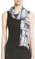 St. John Women's Broken Stripe Print Silk Georgette Scarf