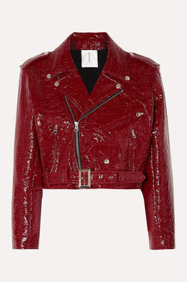 Tre By Natalie Ratabesi TRE by Natalie Ratabesi - The Misty Cropped Crinkled Faux Leather Biker Jacket - Claret