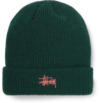 Stussy Logo-Embroidered Ribbed-Knit Beanie