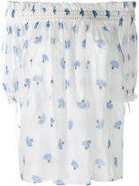 Alexander McQueen off-the-shoulder floral blouse - women - Cotton - 42