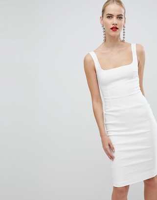 Vesper square neck pencil dress in white
