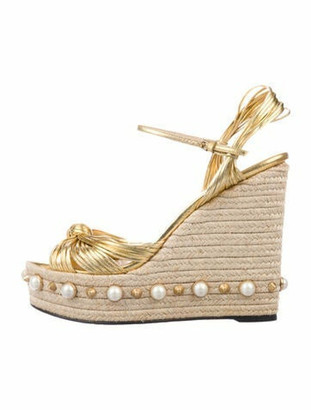 Gucci Faux Pearl Accents Leather Espadrilles Gold