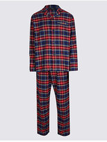M&s Collection Pure Cotton Checked Pyjama Set