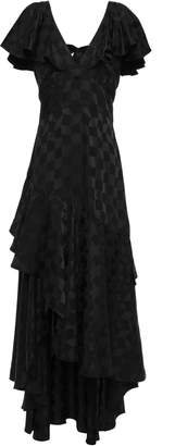 Temperley London Asymmetric Tie-back Ruffled Satin-jacquard Maxi Dress
