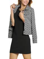Allegra K Women's Zig Zag Pattern Long Sleeve Zip Up Slim Fit Jacket Black White S